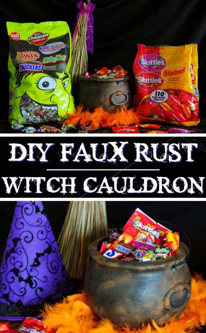 DIY rusty witch cauldron for Halloween #FlauntYourHaunt