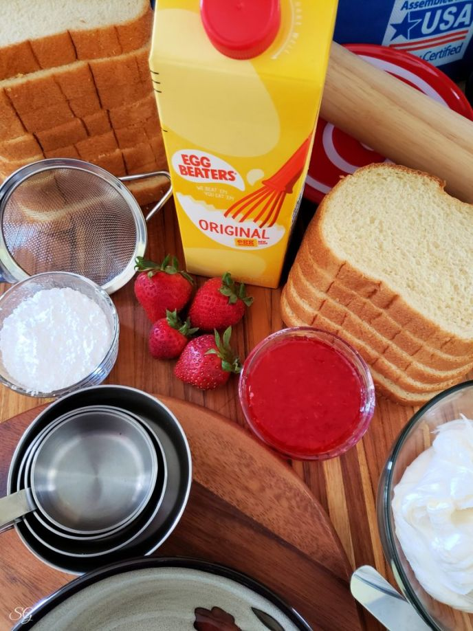 Ingredients to make french toast dessert roll ups #minustheshell