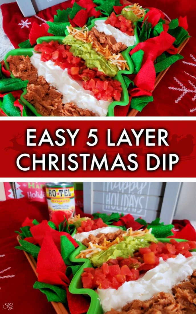 Easy Christmas Dip Recipe! Check out this 5 layer holiday dip that is easy to make. #gatherwithRotel