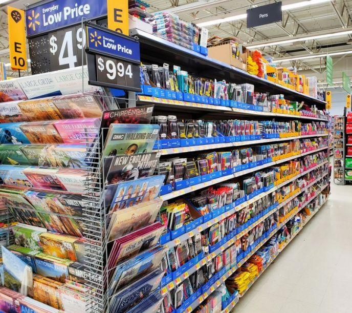 Pen aisle at Walmart