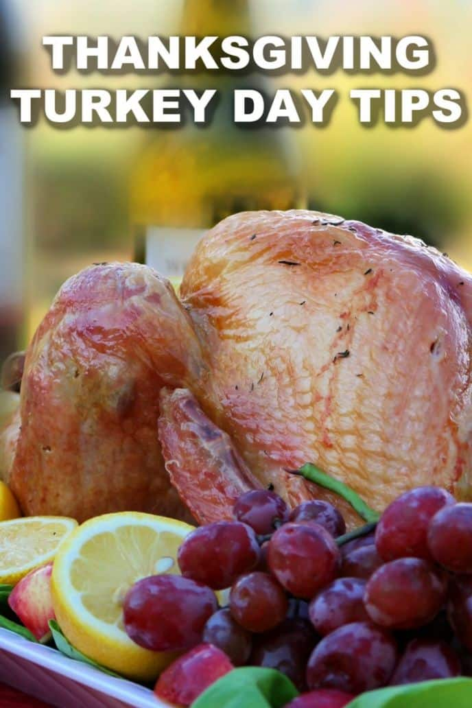 Tips for a great thanksgiving day with family and friends, a cooked turkey and fruit.
