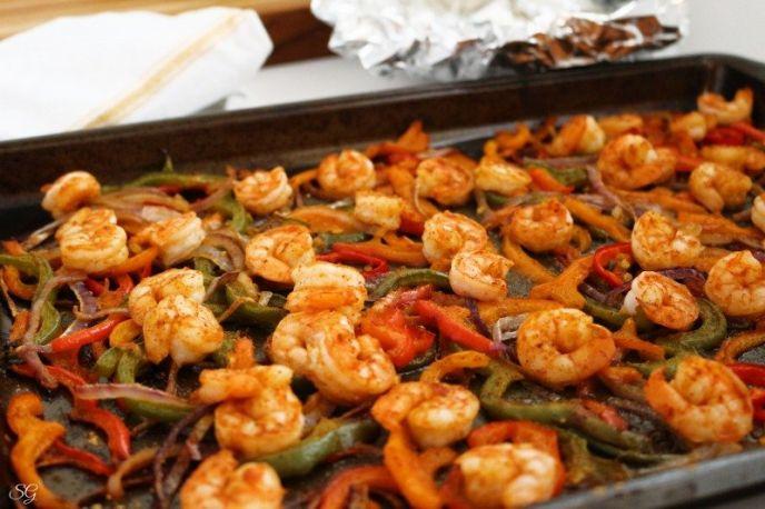 Shrimp and veggies cooked for fajitas
