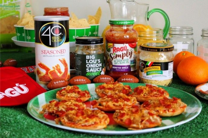 Easy pizza party ides with ready made bagel pizza toppings.