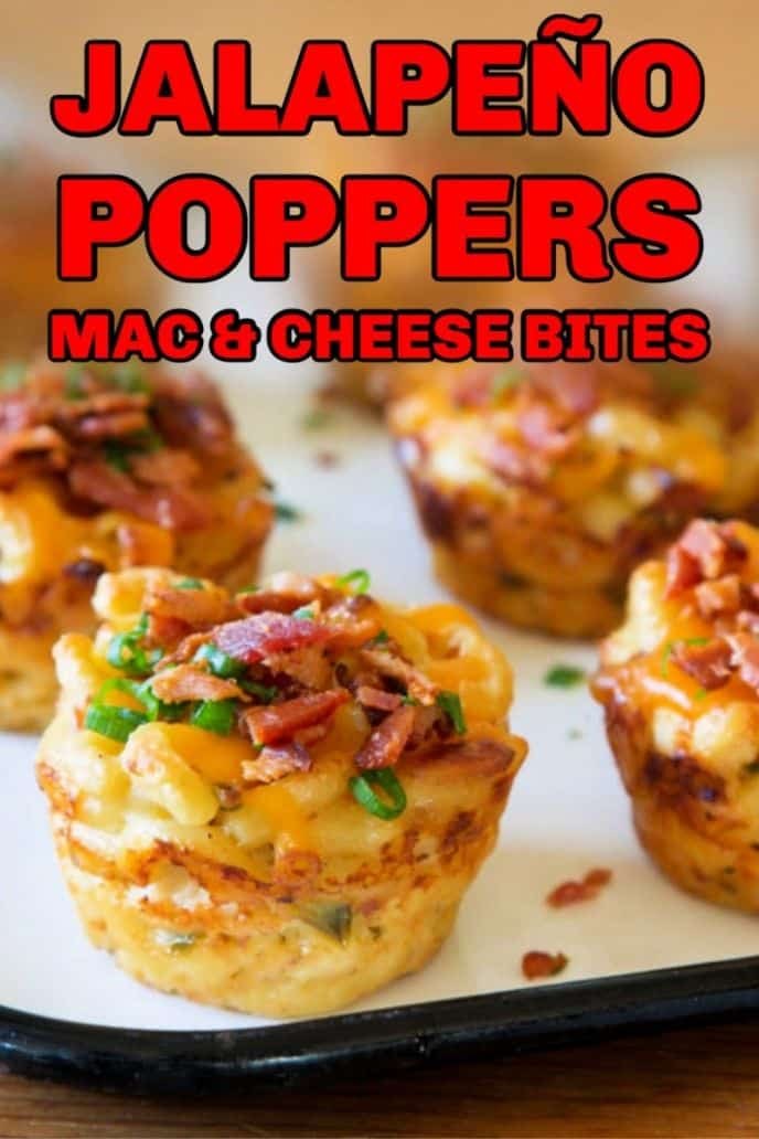 Jalapeno poppers mac and cheese appetizers for the Super Bowl party!