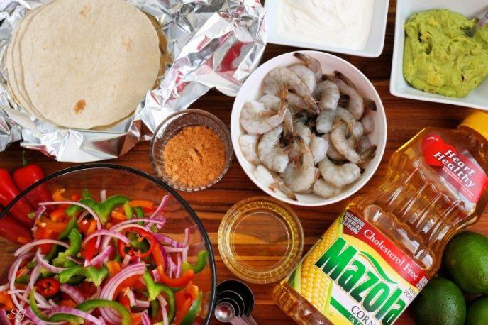 Ingredients to make sheet pan shrimp fajitas