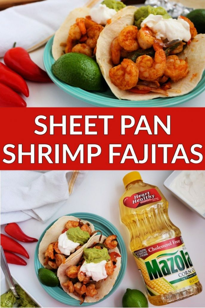 Sheet pan shrimp fajitas recipe made with vegetables, shrimp, and flour tortillas.